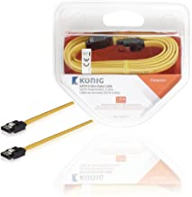 KÖNIG Royal KNC73250Y106GB/s 7pin SATA Data Cable Connector with Latch 1m Yellow