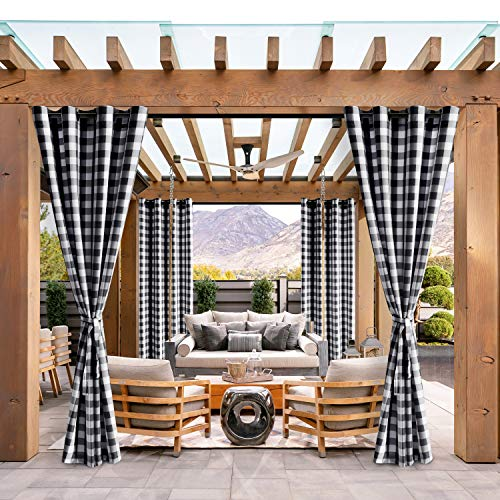 Hiasan Buffalo Plaid Outdoor Curtains for Patio Waterproof - Grommet Semi Sheer Curtains for Gazebo, Porch and Cabana, 52 x 84 Inches Long, Black and White, Set of 2 Panels and 2 Tiebacks