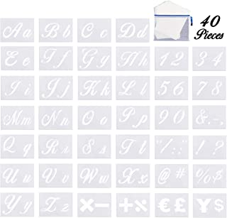 40 Pack Letter Stencils with Calligraphy Font Upper/Lower Case, Numbers and Signs Alphabet Templates with Portable Zipper Bag for Painting on Wood, Art Craft(5.91