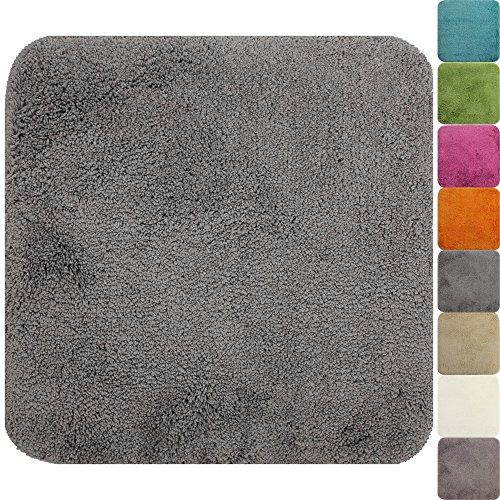 PROHEIM WC-Vorleger Lasalle ohne Ausschnitt 50 x 50 cm grau - Rutschfester Badteppich - Weicher und Kuscheliger Hochflor Badvorleger - 1200g/m² ÖkoTex100 Maschinenwaschbar
