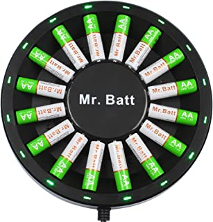 Mr.Batt NiMH Rechargeable AA Batteries (16 Pack) with AA AAA Battery Charger for NiMH NiCD Rechargeable Batteries