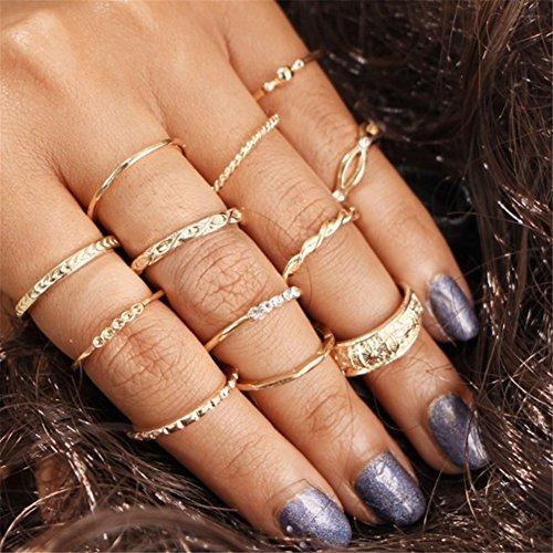 Gluckliy 12 Pcs Vintage Charm Boho Stacking Rings Finger Knuckle Midi Ring Set for Women Girls
