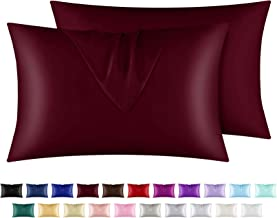 """yourose Satin Pillowcase for Hair and Skin, 2 Pack Queen Size Silky Pillowcases with Envelop Closure, (Burgundy, 20""""X30"""",2..."""