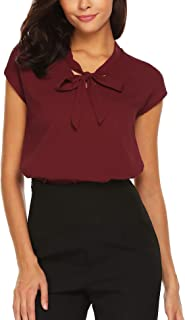 Womens Bow Tie Neck Long/Short Sleeve Casual Office Work Chiffon Blouse Shirts Tops