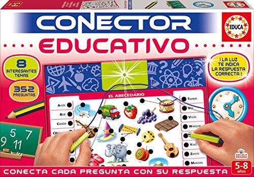 Educa Borrs- Conector 8 Temas de la Escuela, Juego Educativo para nios, a Partir de 5 aos (17203)