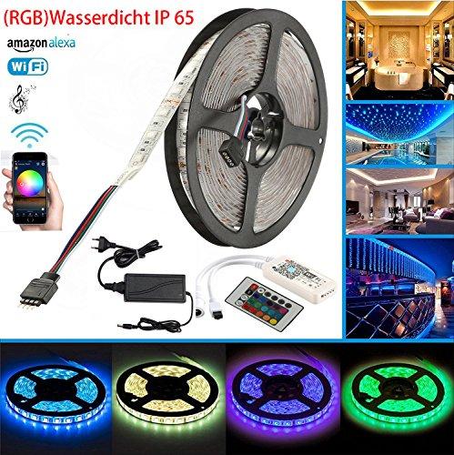 Wifi LED Streifen Wasserdicht IP 65 Arbeitet mit Alexa, Google Home, IFTTT, Smart Phone Gesteuert Led Strip 5m RGB 300LEDs SMD5050 Band Lichtleiste Full Kit