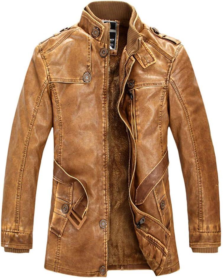 Hzikk Men's PU Jacket Motorcycle Coats Thick Fleece Warm Outerwear Slim Fit Leather Coat,Yellow,L