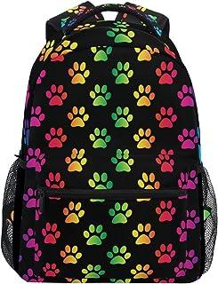 Oarencol Bunte Katze Hund Pfote Tiere Farbverlauf Regenbogen Fußabdruck Rucksäcke Büchertaschen Tagesrucksack Reise Schule...