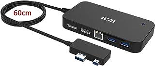 ICZI Surface Dock 7 en 1, Microsoft Surface Hub con DisplayPort HDMI RJ45 Ethernet 2 USB 3.0 Audio USB 2.0 para Surface 3 ...