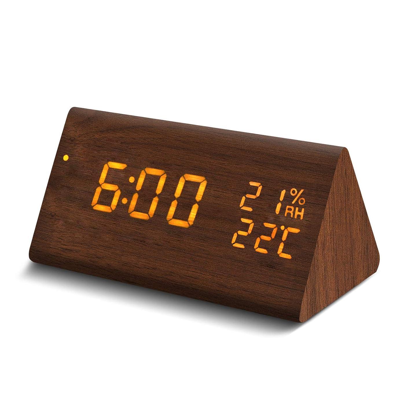 おじさんすぐに塗抹Galopar 目覚まし時計 置き時計 LED 多機能 アラーム デジタル時計 木目調 大音量 音声感知 デジタル温度計 湿度計 USB/電池給電 省エネ (ブラウン)