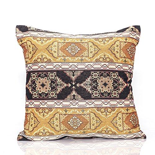 Nurtextil24 Kissenbezug Orientalisch Mega Auswahl Kelim Optik mit Reißverschluss Orient Kissenbezüge GoldSchwarz 50 x 50 cm