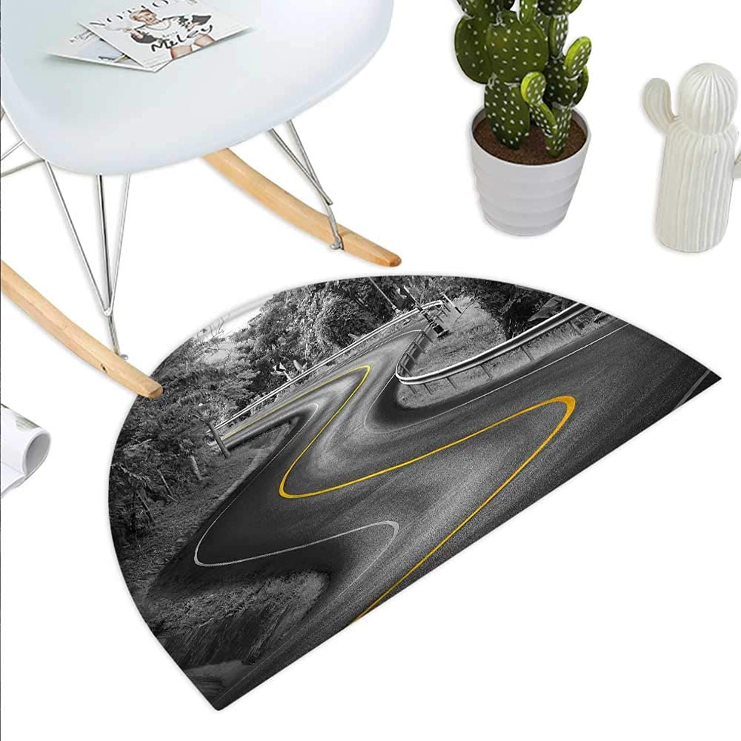 Black and White Decorations Semicircle Doormat Curvy Asphalt Road with Yellow Line Nature Forest Trees Halfmoon doormats H 43.3  xD 64.9  Charcoal Grey Mustard