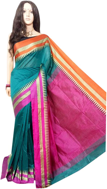 Indian Saree Ethnic Multicoloured handloom saree Designer Collection Sari Party Formal Women Wear 119a