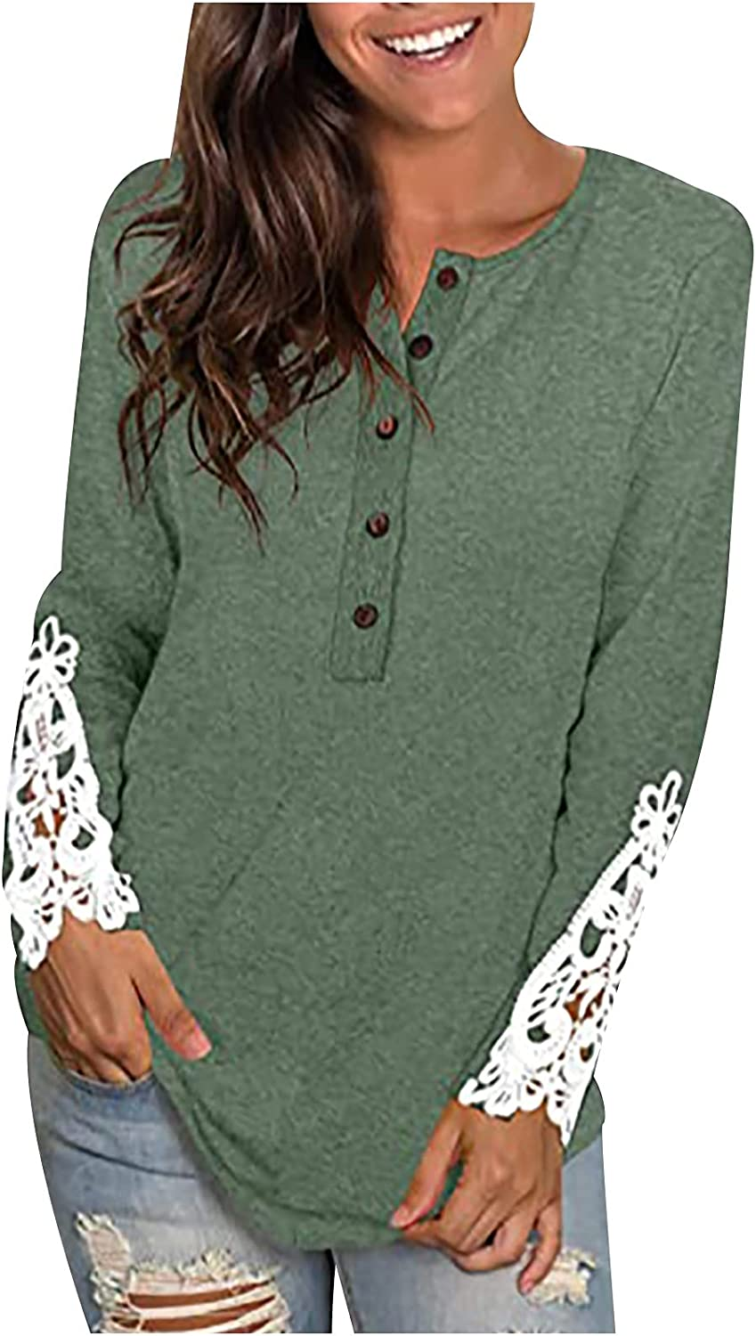 Stitching Lace Long-Sleeve Shirt for Women Solid Color Button O-Neck Blouse Tops Casual Loose Tunic Tee Tops