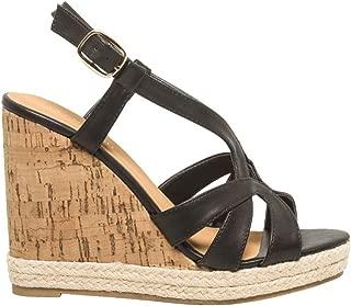 LE CHÂTEAU Faux Leather T-Strap Wedge Sandal