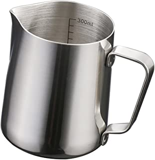 MagiDeal Stainless Steel Coffee Frothing Milk Tea Latte Jug with Scale - Silver, 350ml