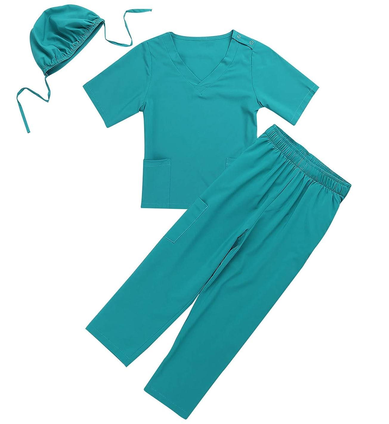 ブースト間違っている悲惨な(フィーショー) FEESHOW 男女兼用 子供 女の子 男の子 外科医 コスプレ 医者 手術服 手術コスチューム 仮装 キッズ用 手術師コスプレ衣装 グリーン 120