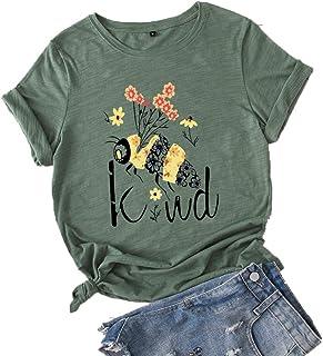 JTJFIT Women Flower Bee Kind T-Shirt Graphic Shirt Tees Short-Sleeved Girls T-Shirt Top, Dark Green, XXX-Large