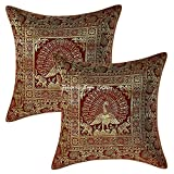 Stylo Culture Ethnic Living Room Brocade Burgundy Maroon and Gold Throw Pillow Covers 16x16 Jacquard Weave Banarsi Accent Pillow Covers Peacock 40x40 cm Decorative Cushion Covers (Set of 2)
