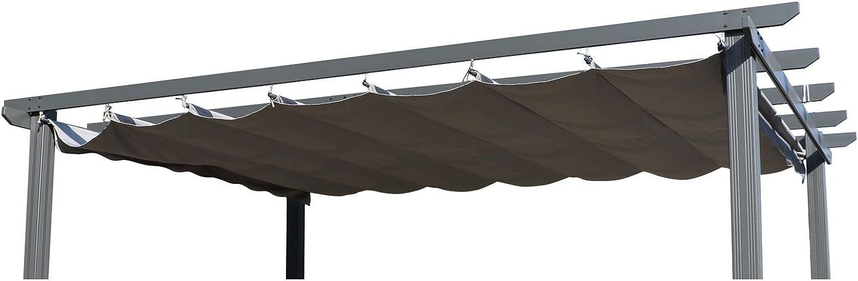 OUTFLEXX Ersatzdach für Pergola, Garten-Pergola in anthrazit, Pavillon aus Polyester Textil, universal und wasserabweisend, ca. 400 x 300 cm