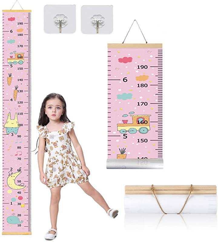 Cute Baby Growth Height Chart Canvas Removable Durable Nursery Wall Decor Wall Ruler For Kids Train Patterns 79 X 7 9