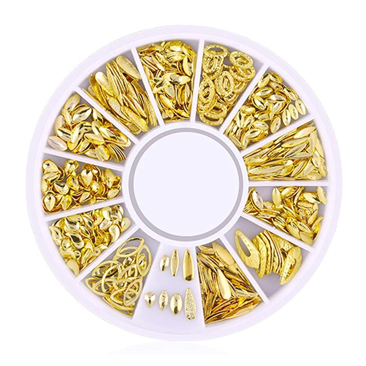 数字不完全な歪めるSnner 3D ネイルパーツ メタル ゴールド ハート 星 月 花 蝶結び 幾何風 12種形 ネイルデコレーション 円型ケース入リ ピンクケース 200点セット (幾何風2)