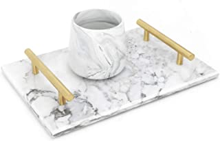 LUANT Marble Stone Decorative Tray for Counter, Vanity, Dresser, nightstand, or Desk