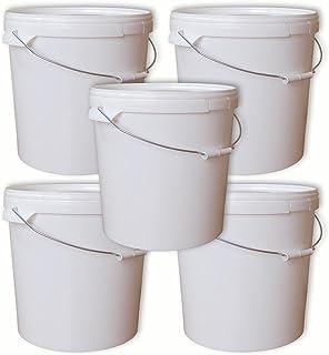 Lot de 5 seaux plastique 20 L conteneur qualité alimentaire avec anse et couvercle (5x22050)
