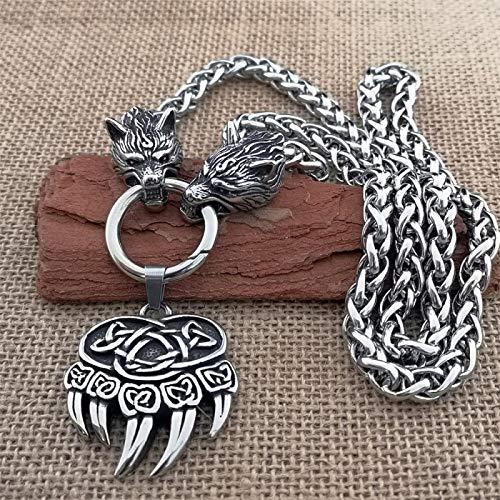 N/G Collar nórdico para Hombre, Cuervo Vikingo, Acero Inoxidable, Titanio, Acero, Cabeza de Lobo, Collar dominante