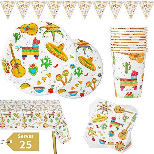 Set de Vajilla para Fiesta Mexicana 177 Piezas Cinco de Mayo para Celebración Incluye Platos Vasos Servilletas de Papel Mantel Pancarta, Reutilizable 25 Invitados