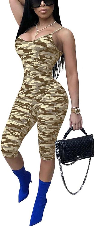 Dreamparis Women's Sexy Camouflage Spaghetti Strap Sleeveless Capri Bodycon Jumpsuits Rompers