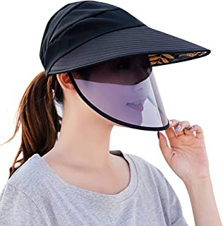 Women Sun Hat UV Protective Anti-saliva Summer Cap Beach Hat with Face Shield