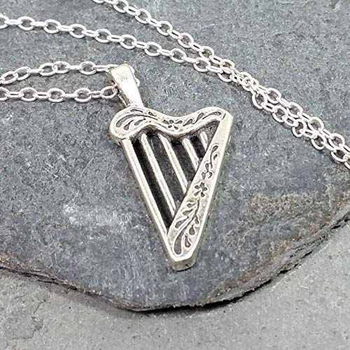 Celtic Harp Charm Necklace - 925 Sterling Silver, 18'