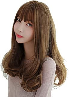 Dark Roots Long Bob Wavy Brown Wig 130% Density Synthetic Lace Front Wig Ombre Wigs For Women Hair Heat Resistant Fiber YU...