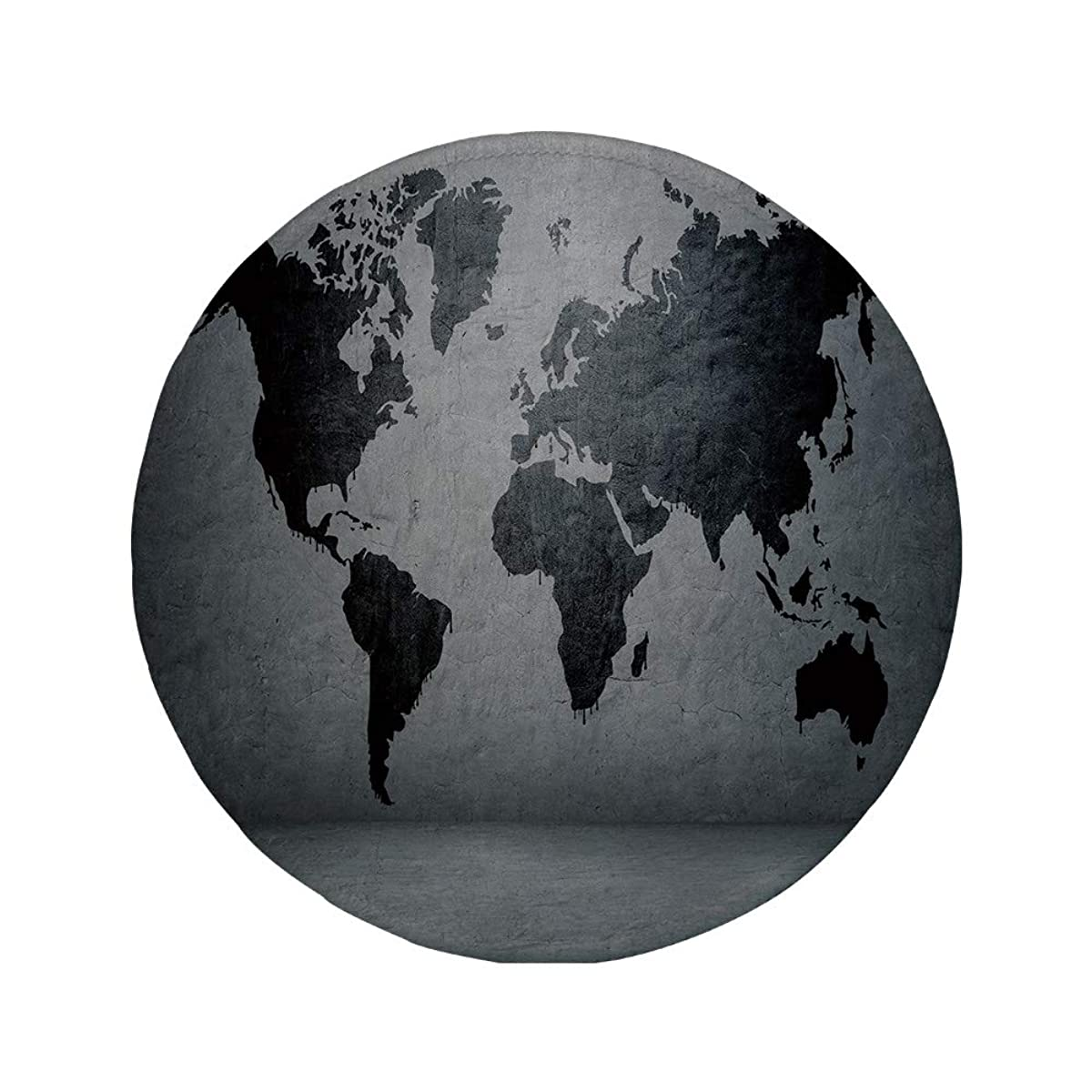 Non-Slip Rubber Round Mouse Pad,Dark Grey,Black Colored World Map on Concrete Wall Image Urban Structure Grungy Rough Look,Grey Black,11.8