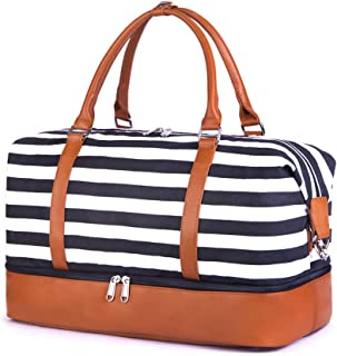 SUVOM Women Weekend Bag Canvas Overnight Travel Tote Bag Carry on Shoulder Duffel Bag With PU Leather Strap (Black & White Stripe with shoe compartment), White/Black Thick Stripes (Black and white) - SAB0159B