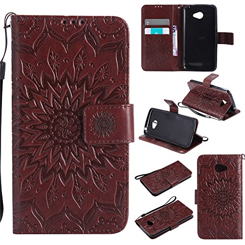Nancen Compatible with Handyhülle LG K5 Hülle,LG K5 (5 Zoll) Leder Wallet Tasche Brieftasche Schutzhülle, Nancen Prägung Sonnenblume Muster