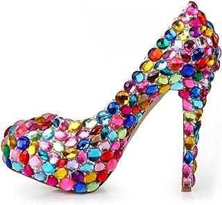Women's High Heels Wedding Shoes, Fine Heel High 14 cm Colorful Glass Diamond Shallow Mouth Platform High Heels Comfortable Non-Abrasive Feet for Banquet Wedding