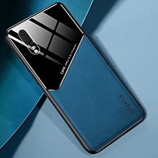 LENASH För Huawei P20 all-inclusive läder + ekologiskt glasskydd med metalljärn Fallskydd (Color : Blue)
