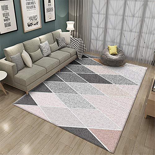 Kunsen Rug Alfombra Carretera Infantil Sala de Estar Alfombra Rosa Gris decoración de Dormitorio Moderno Antideslizante alfombras Infantiles Lavables 180X250CM 5ft 10.9' X8ft 2.4'