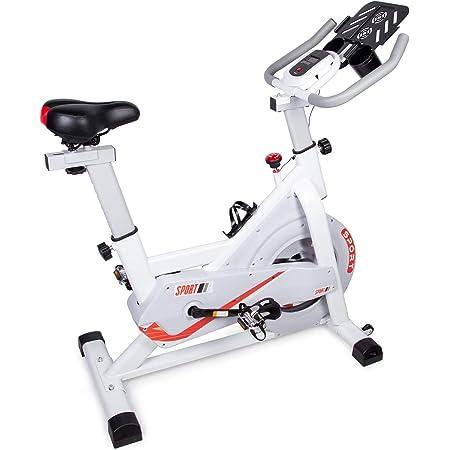 EVOLAND - Bicicleta estática interior, bicicleta de entrenamiento, pantalla LCD, spinning con resistencia ilimitada, soporte para hervidor, asiento ...