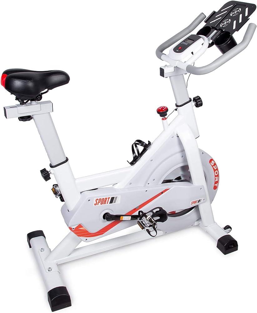 evoland, cyclette, bici da spinning con resistenza illimitata, display lcd, bianca