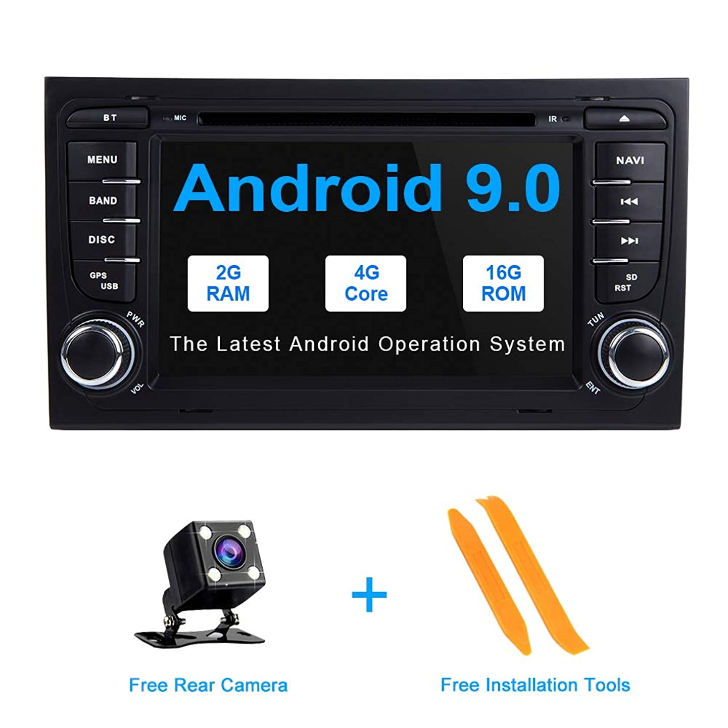 TOOPAI Android 9.0 Car Radio Car Stereo GPS Navigation 7 Inch Touch Display Car Media Player Double Din Head Unit for Audi/A4/S4/RS4/Seat Exeo Support Screen Mirror WiFi OBD2 Steering Wheel Control