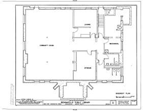 Historic Pictoric Blueprint Diagram HABS IND,49-IND,31- (Sheet 2 of 6) - Indianapolis Public Library, 2822 East Washington Street, Indianapolis, Marion County, in 14in x 11in