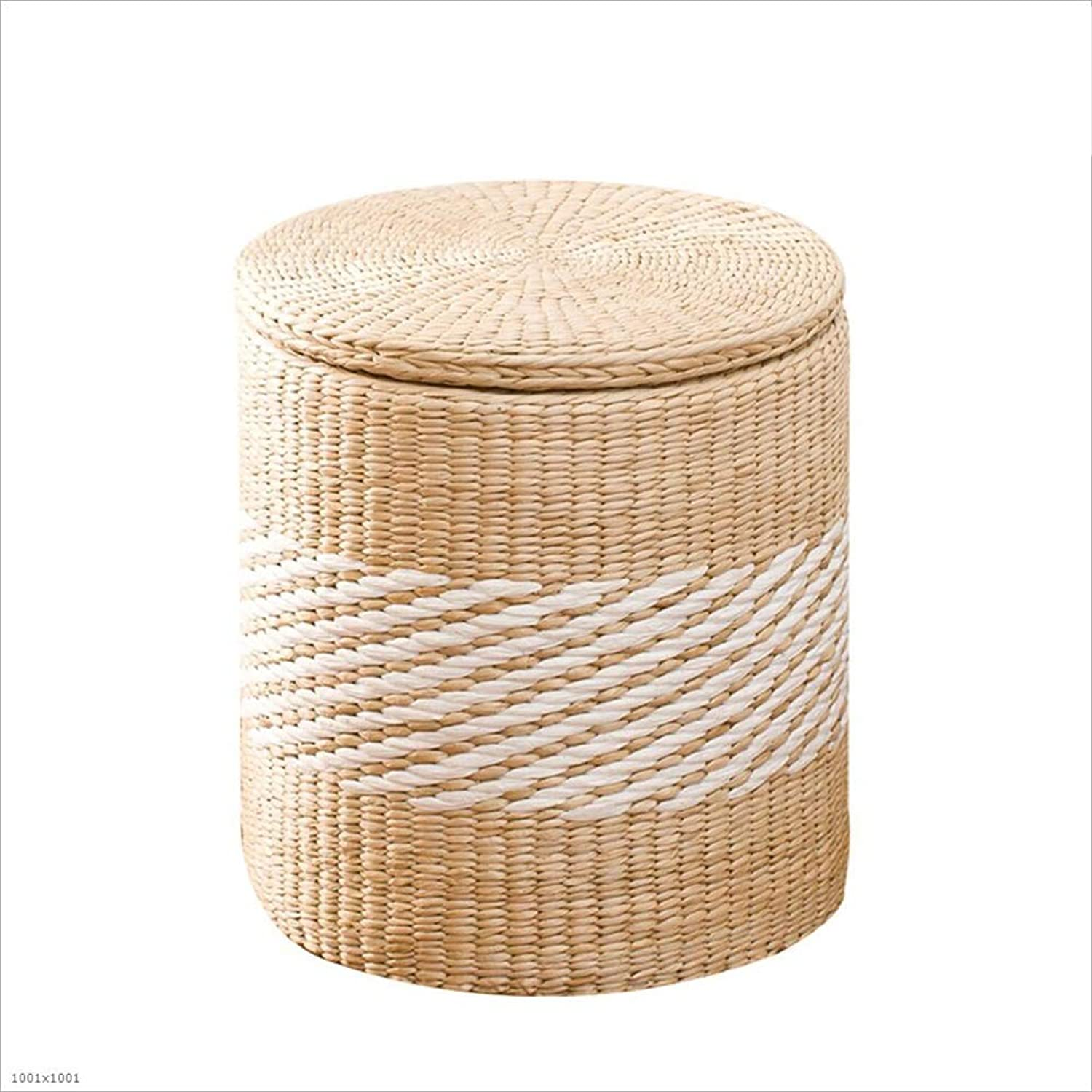 Stools Footstool Step Stool Vine Straw Storage Sort Out Covered Wholesale Footrest Sofa Can Sit Toy CONGMING (color   A-Round-Grass, Size   Small)