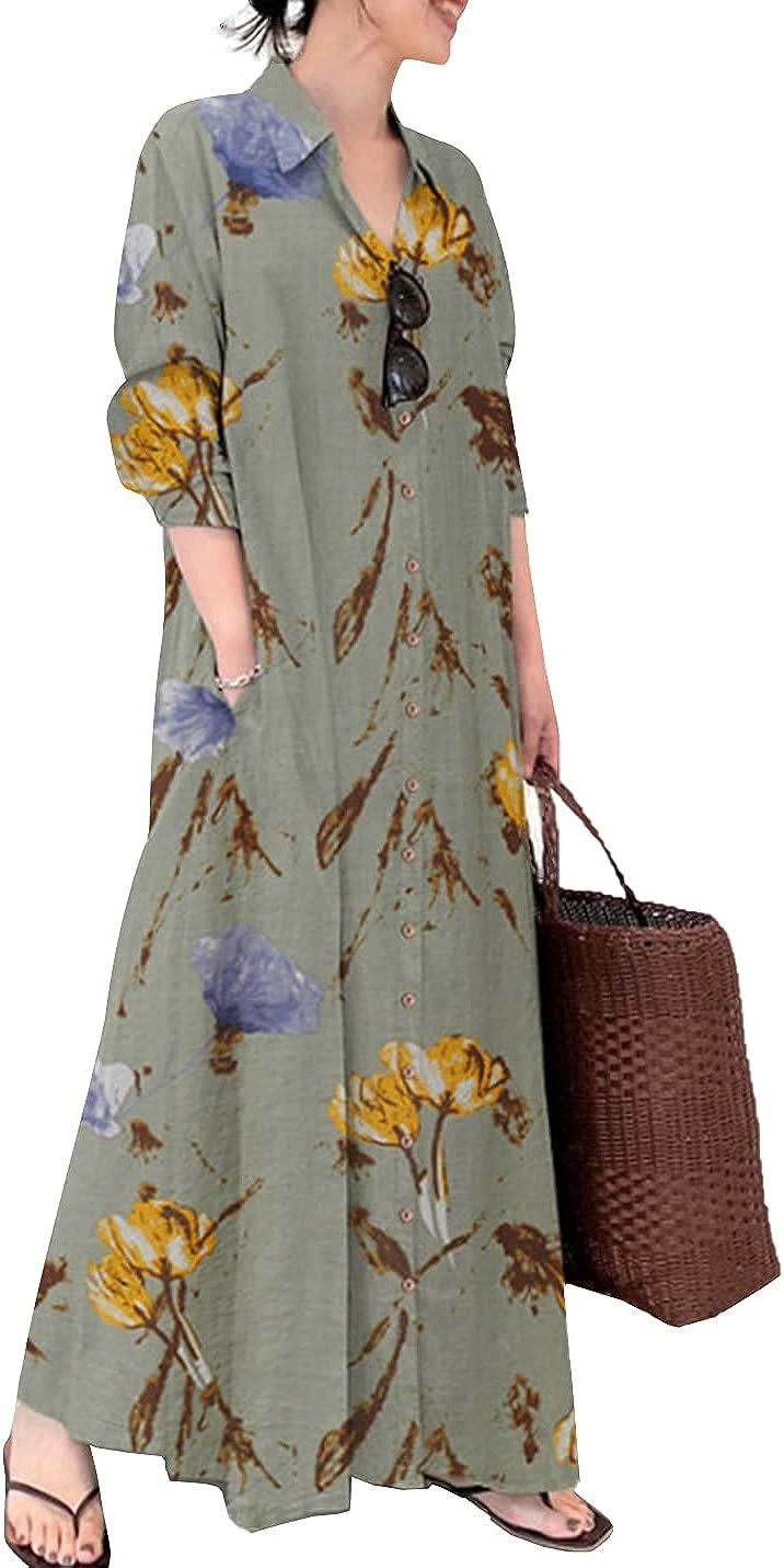 PEHMEA Women's Floral T-Shirt Dress Casual Loose Long Sleeve Button Down Maxi Dresses
