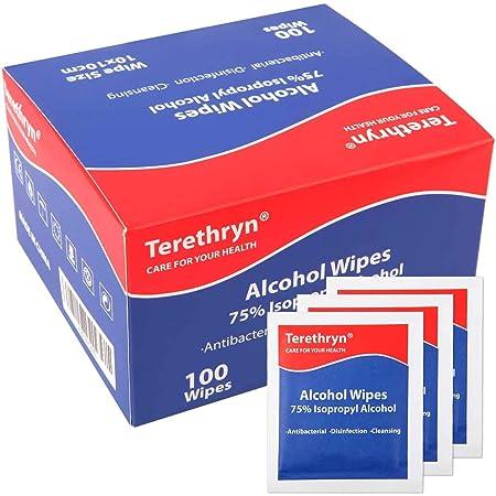 Lingette Desinfectante d'alcool à 75% Lingettes Emballées Individuellement pour Nettoyer Lunettes, Clavier, Téléphone et Tablette boite de 100