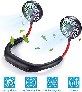 VIDEN Ventilador Personal Portátil, Mini Ventilador Micro USB de Cuello Mano Libre Recargable Ventilador 3 velocidades y rotación de 360 Grados con LED para Deporte Oficina Hogar Viajar Acampar