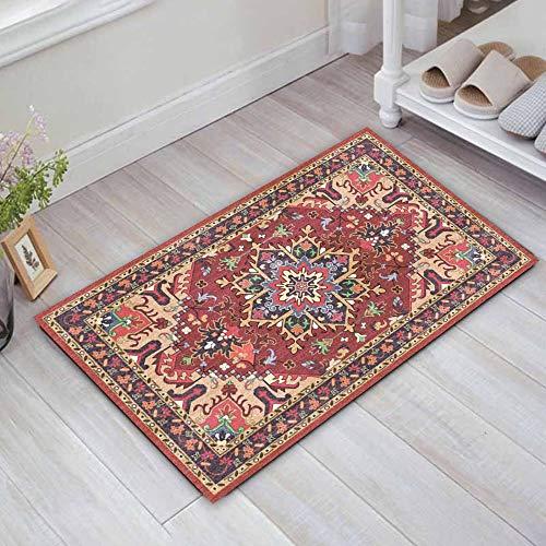 LEAMER Felpudo antideslizante con estampado persa, 60 x 40 cm, suave alfombra de entrada para puerta trasera, interior, entrada y pasillo
