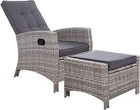 Gardeon Sun Lounge Recliner Chair Wicker Lounger Sofa Day Bed Outdoor Furniture Patio Garden Cushion Ottoman Grey Garden